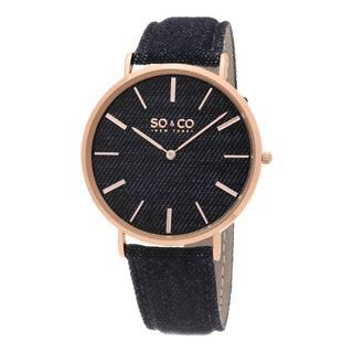 SO&CO New York Men's SoHo Quartz Rose Bezel Denim Covered Leather Strap Watch|https://ak1.ostkcdn.com/images/products/10277425/P17393341.jpg?impolicy=medium