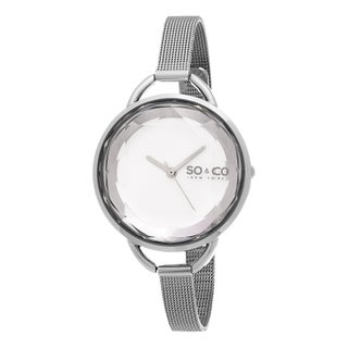 SO&CO New York Women's SoHo Crystal Cut Dial Stainless Steel Mesh Watch (Option: Silver/White)