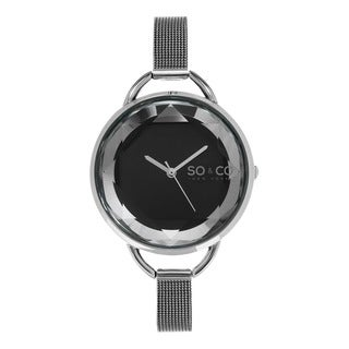 SO&CO New York Women's SoHo Crystal Cut Dial Stainless Steel Mesh Watch