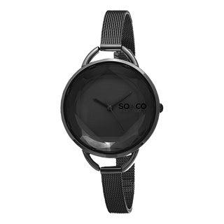 SO&CO New York Women's SoHo Quartz Black Stainless Steel Mesh Bracelet Watch