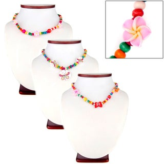 Girls' Set of 3 Multi-color Wooden Bead Jewelry Necklace and Bracelet Set