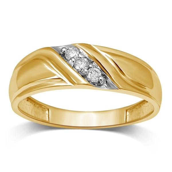 Mens Wedding Bands Unending Love Menx27s 10k Yellow Gold 1 10ct TDW Diamond Slant