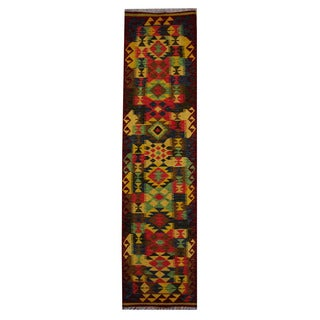 Herat Oriental Afghan Hand-woven Tribal Vegetable Dye Kilim Gold/ Dark Rust Wool Area Rug (2'1 x 7'1