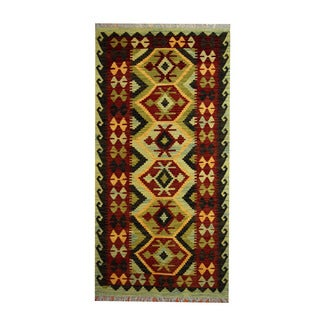 Herat Oriental Afghan Hand-woven Vegetable Dye Tribal Wool Kilim (3'4 x 6)
