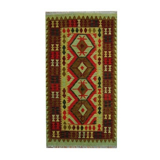 Herat Oriental Afghan Hand-woven Vegetable Dye Tribal Wool Kilim (3'7 x 6'5)