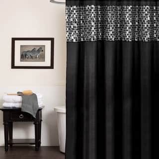 Classic Black And Silver Tile Patchwork Shower Curtain Hooks Or Separates