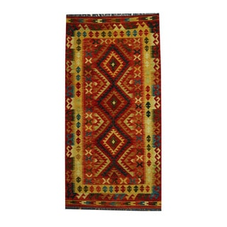 Herat Oriental Afghan Hand-woven Tribal Vegetable Dye Kilim Red/ Gold Wool Area Rug (3'4 x 6'6)