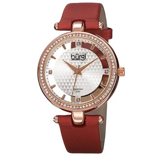 Burgi Women's Quartz Diamond Satin Red Strap Watch