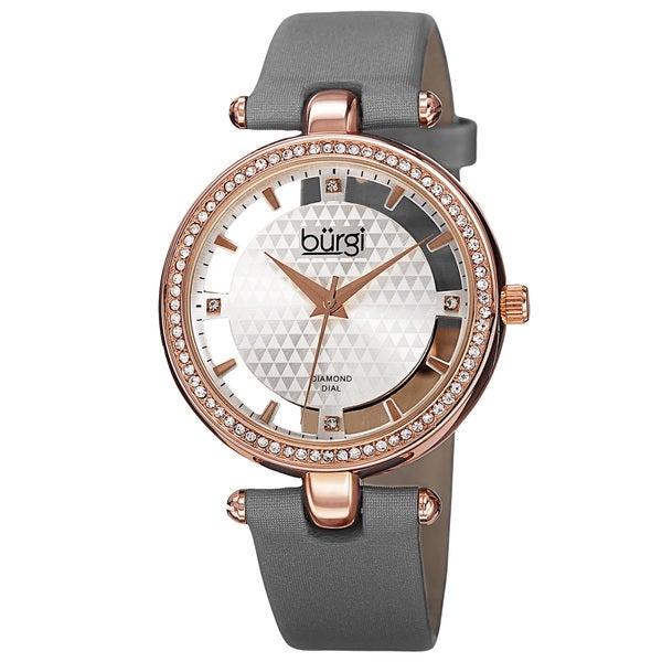 Burgi Women's Quartz Diamond Satin Grey Strap Watch