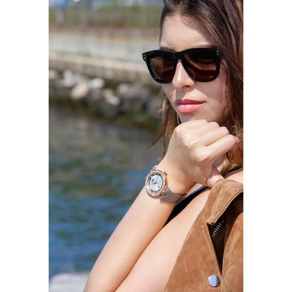 Burgi Women's Quartz Diamond Satin Grey Strap Watch with FREE Bangle