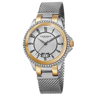 Akribos XXIV Men's Quartz Crystal Stainless Steel Two-Tone Strap Watch