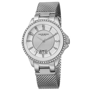 Akribos XXIV Men's Quartz Crystal Stainless Steel Silver-Tone Strap Watch