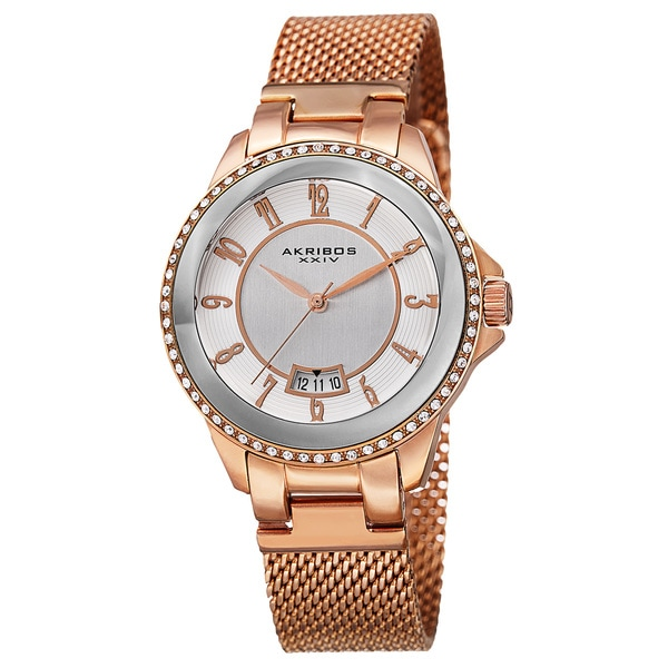 Akribos XXIV Men's Quartz Crystal Stainless Steel Rose-Tone Strap Watch with FREE GIFT - Gold