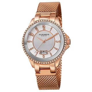 Akribos XXIV Men's Quartz Crystal Stainless Steel Rose-Tone Strap Watch