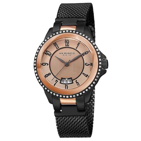 Akribos XXIV Men's Quartz Crystal Stainless Steel Black Strap Watch
