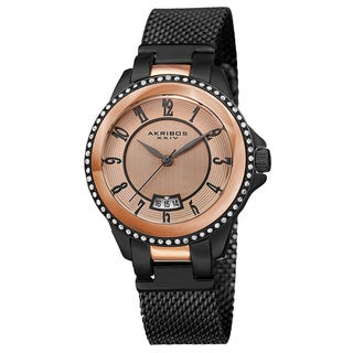 Akribos XXIV Men's Quartz Crystal Stainless Steel Black Strap Watch