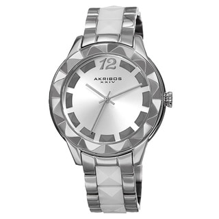 Akribos XXIV Women's Quartz Pyramid Stainless Steel White Bracelet Watch