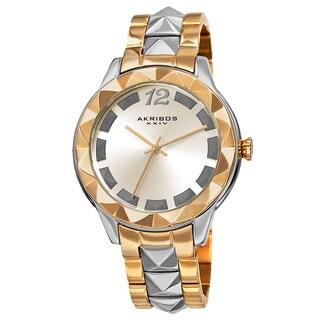 Akribos XXIV Women's Quartz Pyramid Stainless Steel Two-Tone Bracelet Watch