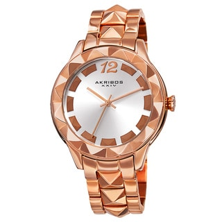 Akribos XXIV Women's Quartz Pyramid Stainless Steel Rose-Tone Bracelet Watch