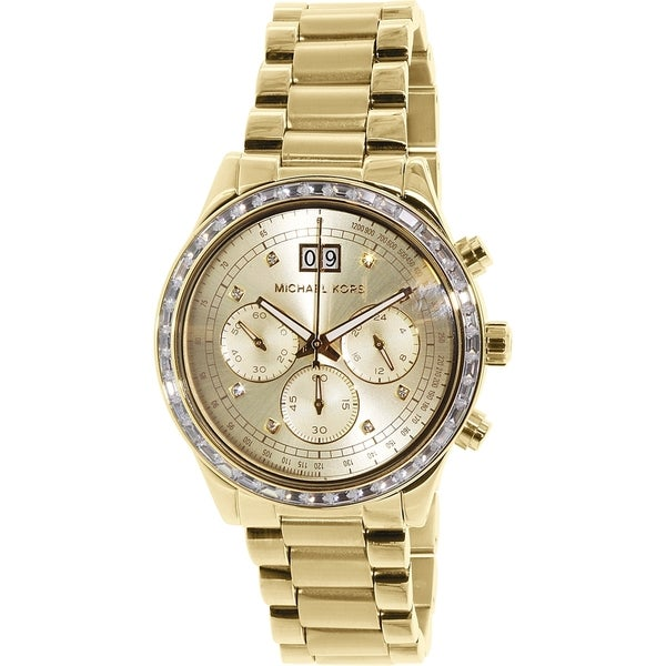 2c358bf7c0ac Shop Michael Kors Women s MK6187  Brinkley  Chronograph Crystal Gold-Tone  Stainless Steel Watch - Free Shipping Today - Overstock - 10277649