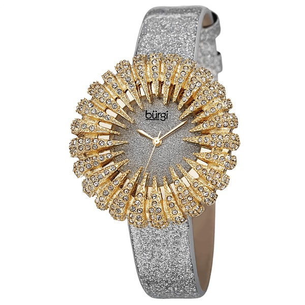 Burgi Women's Holiday-Style Quartz Sparkling Leather Gold-Tone Strap Watch - Gold. Opens flyout.