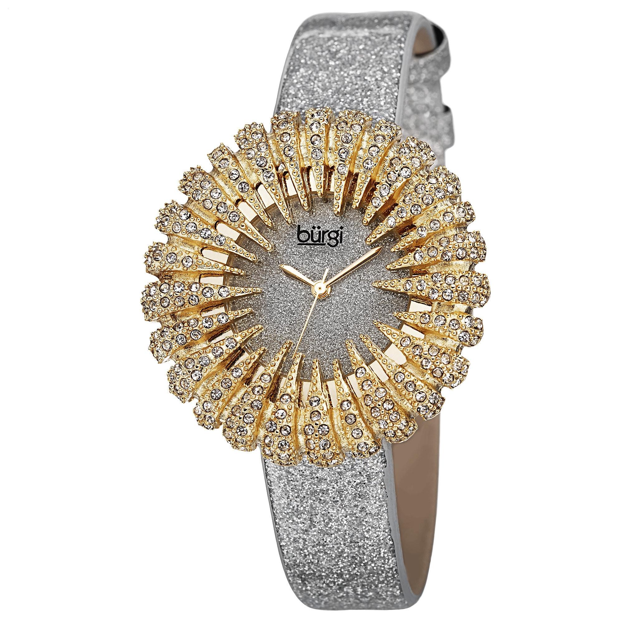 Burgi Women's Holiday-Style Quartz Sparkling Leather Gold...