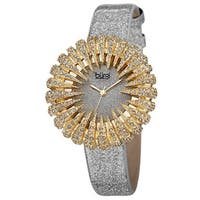 Burgi Women's Holiday-Style Quartz Sparkling Leather Gold-Tone Strap Watch - Gold