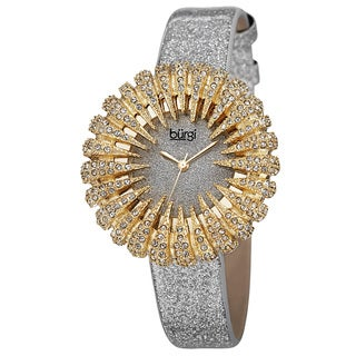 Burgi Women's Holiday-Style Quartz Sparkling Leather Gold-Tone Strap Watch with FREE GIFT - Gold