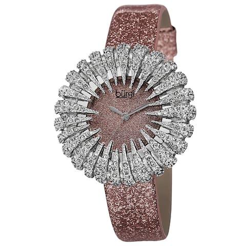 Burgi Women's Holiday-Style Quartz Sparkling Leather Strap Watch - Pink