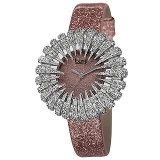 Burgi Women's Holiday-Style Quartz Sparkling Leather Strap Watch - Pink