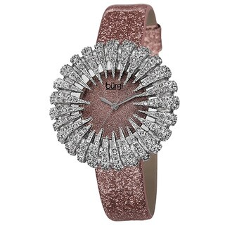 Burgi Women's Holiday-Style Quartz Sparkling Leather Strap Watch with FREE GIFT - Pink