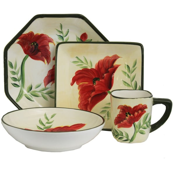 Shop Poppy Collection Hand-painted 16-piece dinner set - Free