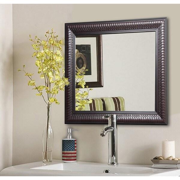American Made Rayne Royal Curve Beveled Wall/ Vanity Mirror - Dark Mahogany