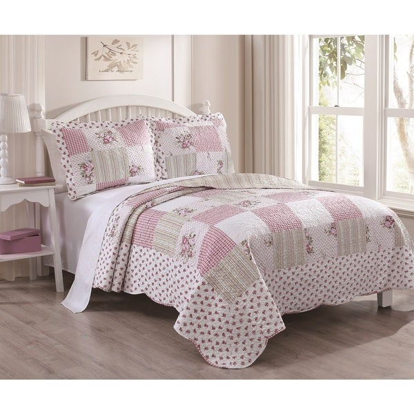 Tabitha Pink Roses Patchwork 3-piece Quilt Set