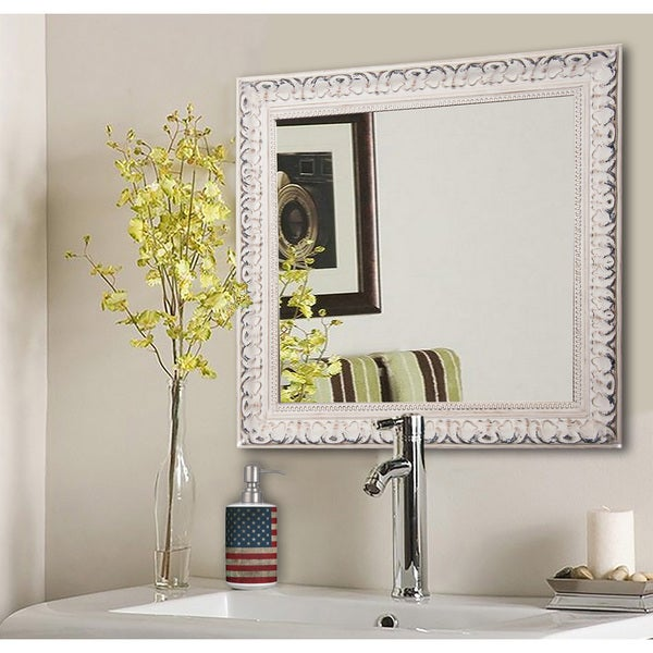 American Made Rayne French Victorian White Wall/ Vanity Mirror - Antique White