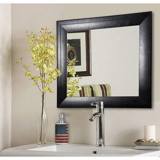 American Made Rayne Stitched Black Leather Vanity Wall Mirror