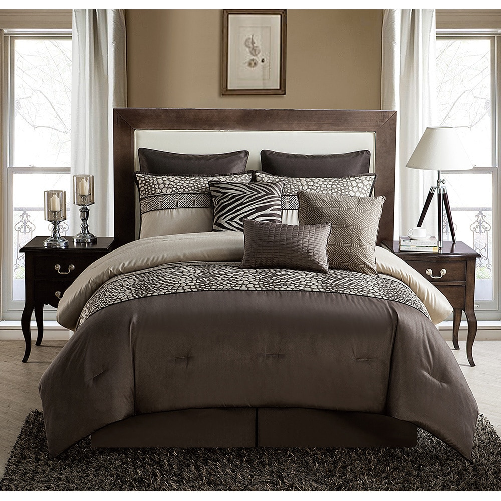 Vcny Mali 9-piece Reversible Comforter Set (King), Brown ...