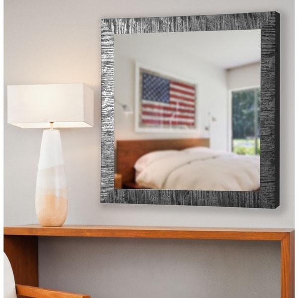 American Made Rayne Safari Silver Vanity Wall Mirror - Silver/Black