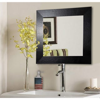American Made Rayne Black Wide Leather Vanity WallMirror