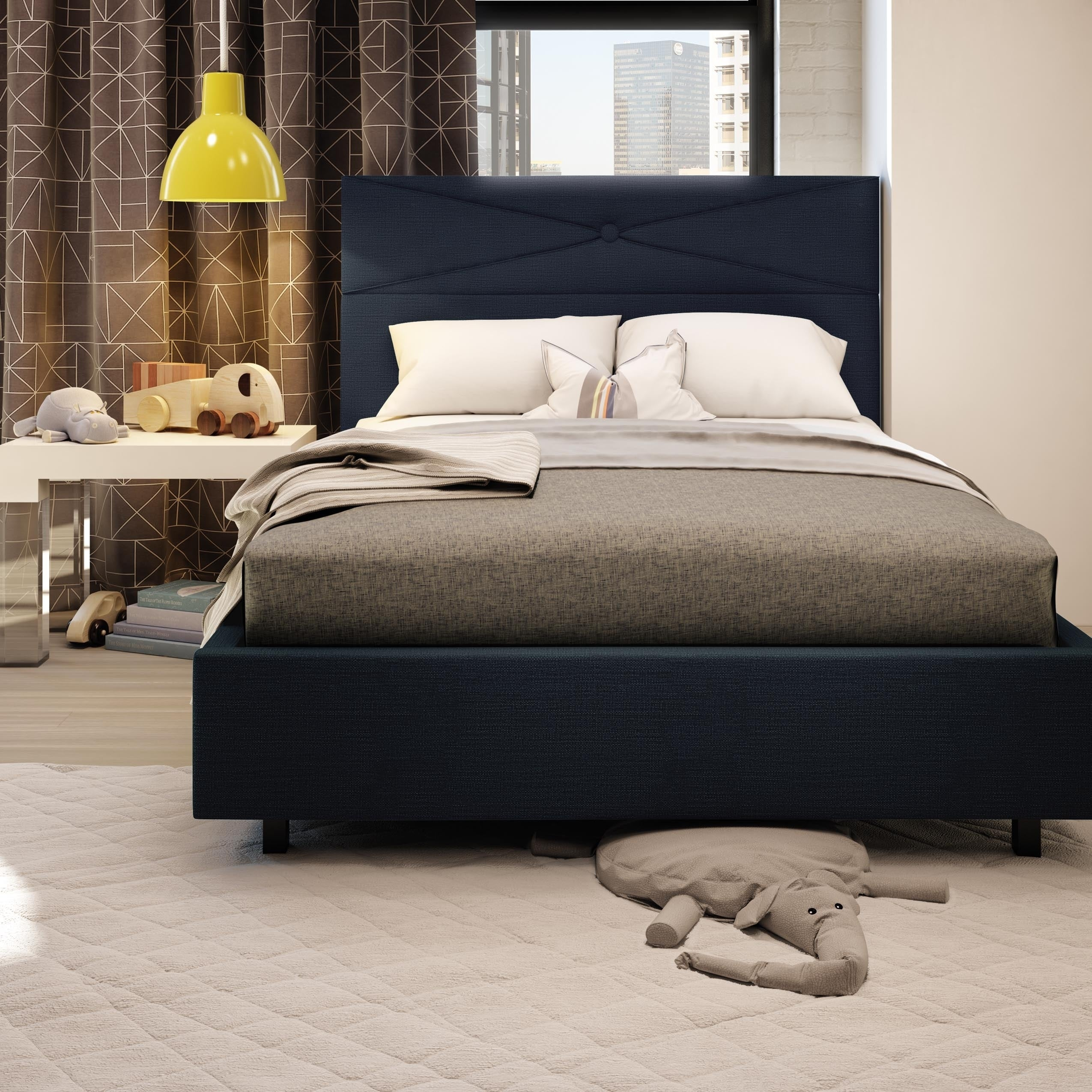 Details About Amisco Diamond Metal Upholstered Bed