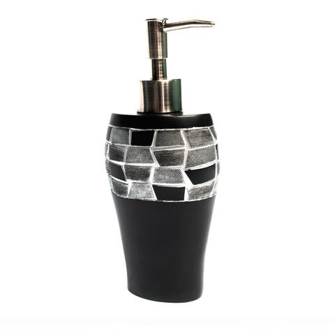 Classic Black and Silver Tile Patchwork Bath Accessory Collection