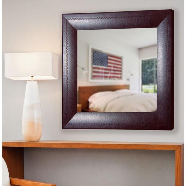 American Made Rayne Espresso Leather Vanity Wall Mirror
