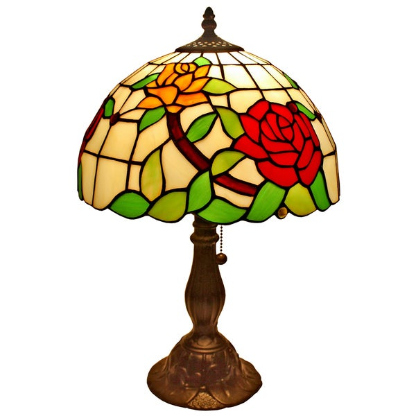 amora lighting tiffany style floral table lamp free shipping today. Black Bedroom Furniture Sets. Home Design Ideas