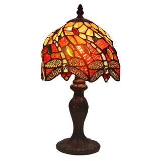 Amora Lighting Tiffany Style Dragonfly Table Lamp