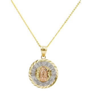 14k Tri-color Gold Guadalupe 15 Anos Necklace