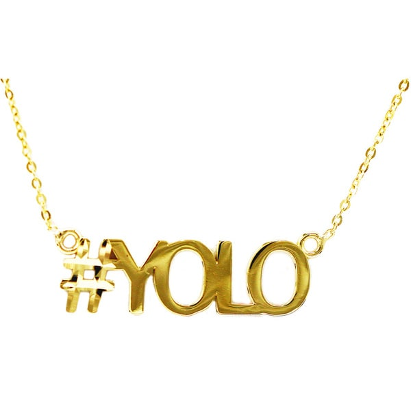 10k Yellow Gold 'YOLO' Hashtag Necklace