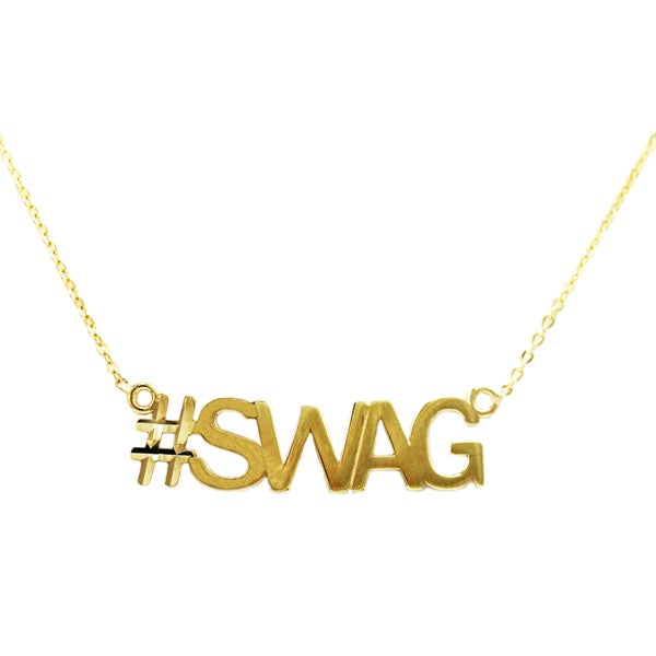 10k Yellow Gold 'Swag' Hashtag Necklace