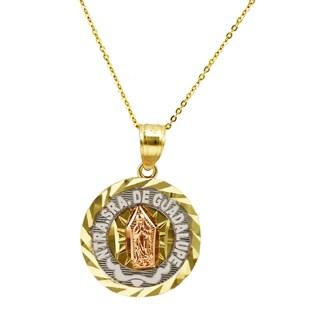 14k Tri-color Gold Nuestra Senora de Guadalupe Pendant