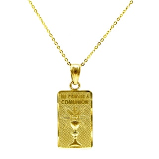 14k Yellow Gold Mi Primera Comunion Necklace