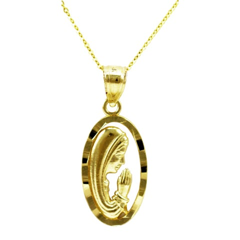 14k Yellow Gold Mother Mary Necklace